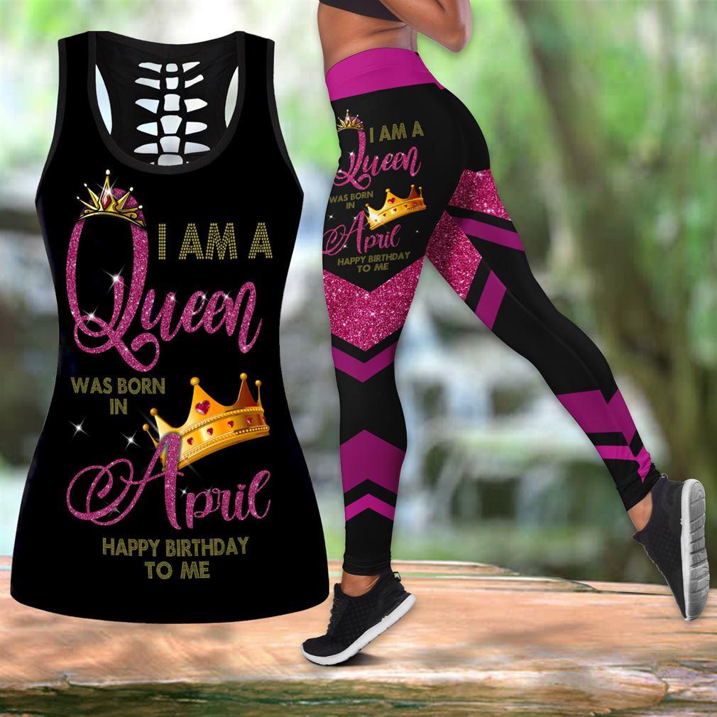 April Birthday Girl Combo Outfit Hollow Tanktop Legging Set V63