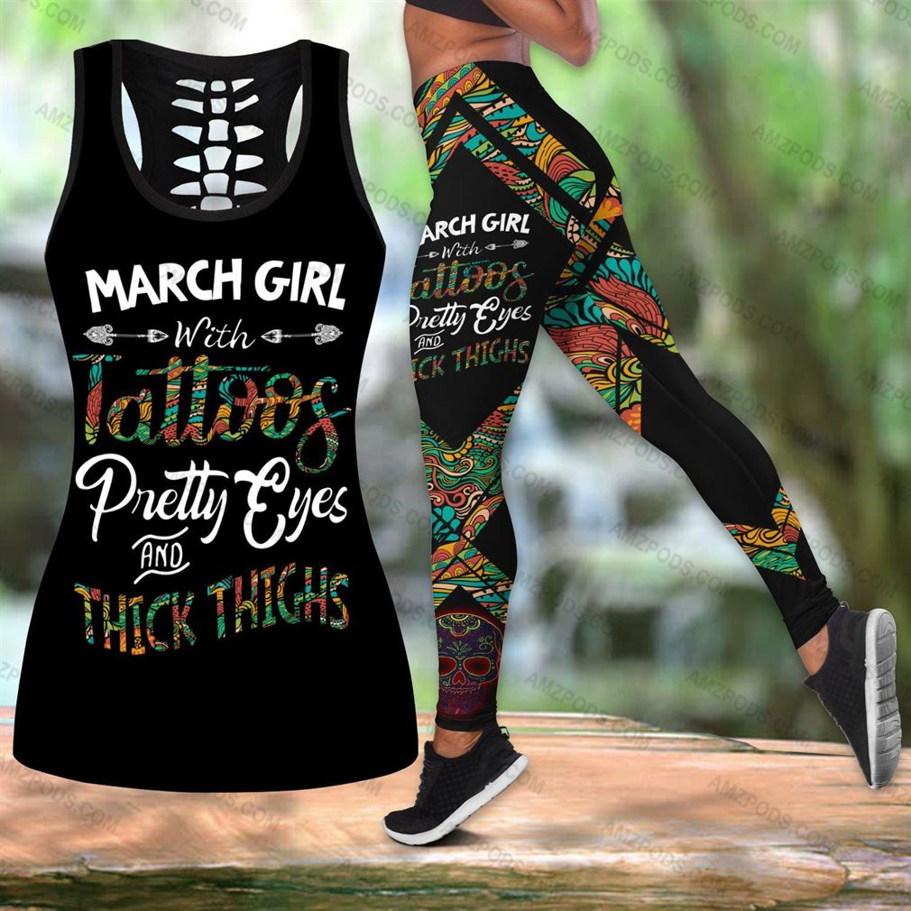 March Birthday Girl Combo Outfit Hollow Tanktop Legging Set V03
