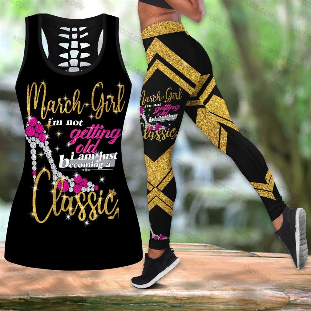 March Birthday Girl Combo Outfit Hollow Tanktop Legging Set V06
