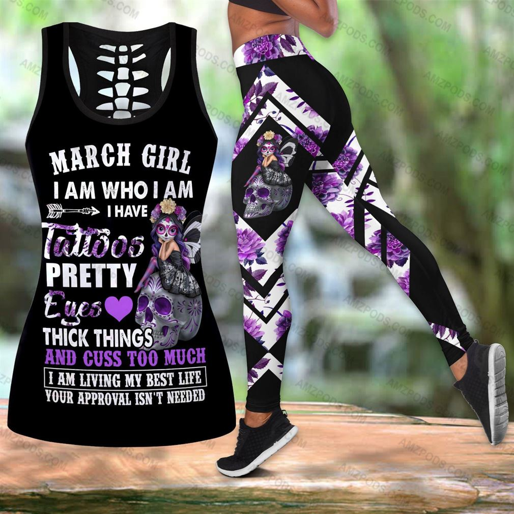 March Birthday Girl Combo Outfit Hollow Tanktop Legging Set V07