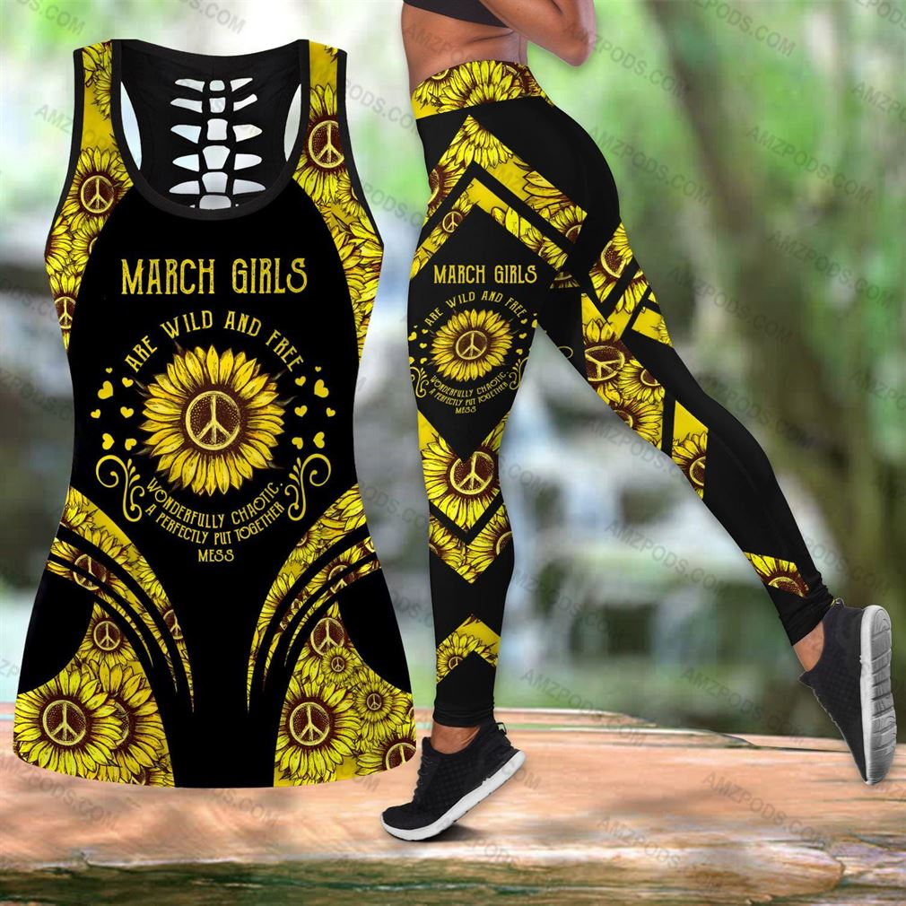 March Birthday Girl Combo Outfit Hollow Tanktop Legging Set V10