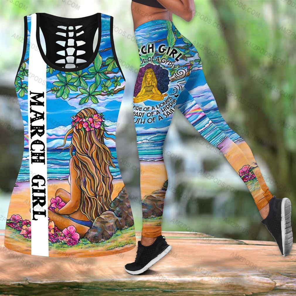March Birthday Girl Combo Outfit Hollow Tanktop Legging Set V13