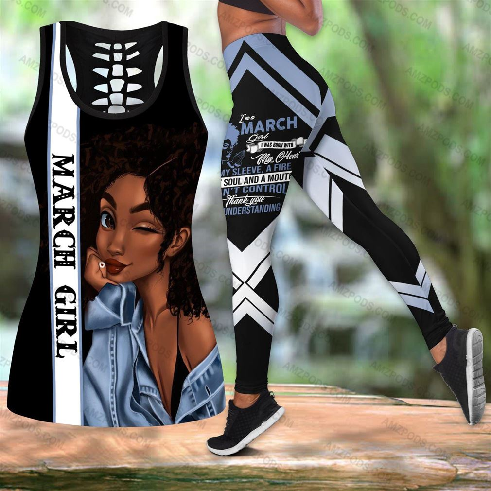 March Birthday Girl Combo Outfit Hollow Tanktop Legging Set V14