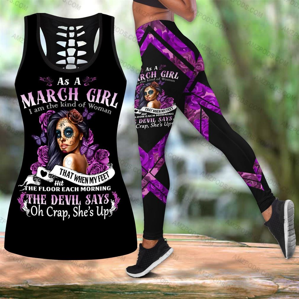 March Birthday Girl Combo Outfit Hollow Tanktop Legging Set V15