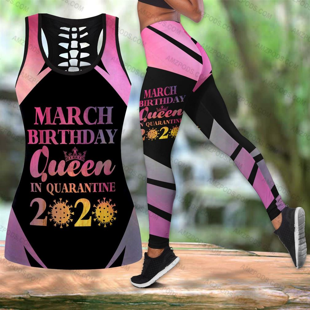 March Birthday Girl Combo Outfit Hollow Tanktop Legging Set V18