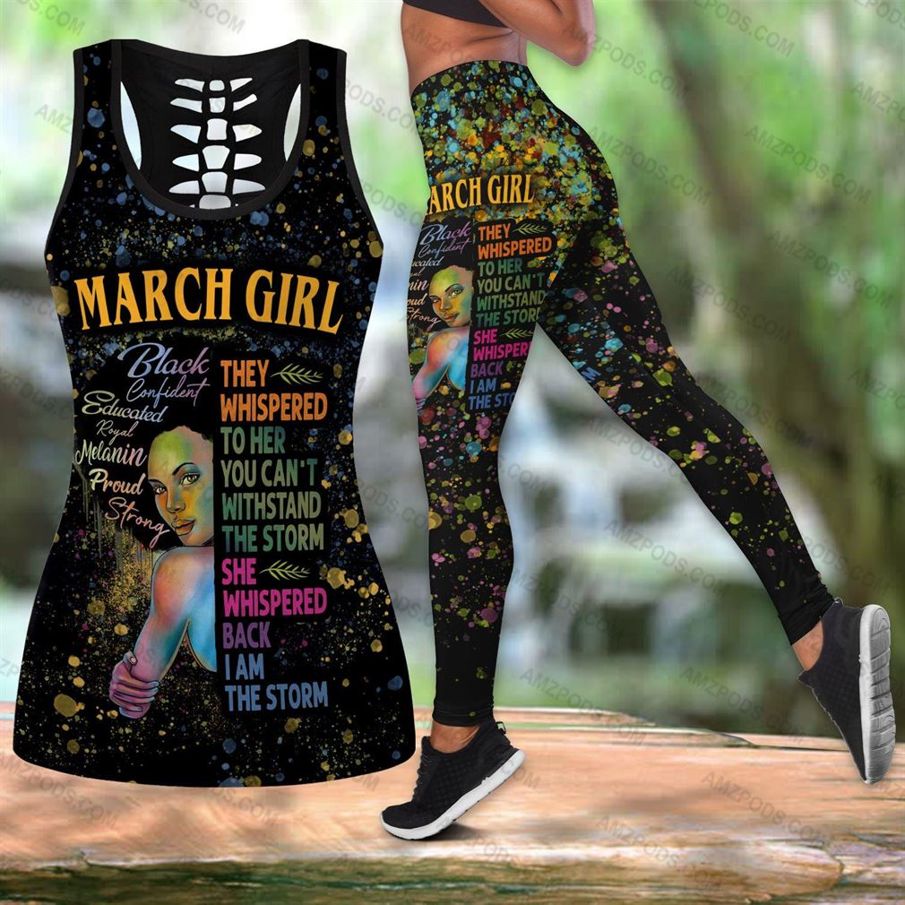 March Birthday Girl Combo Outfit Hollow Tanktop Legging Set V25