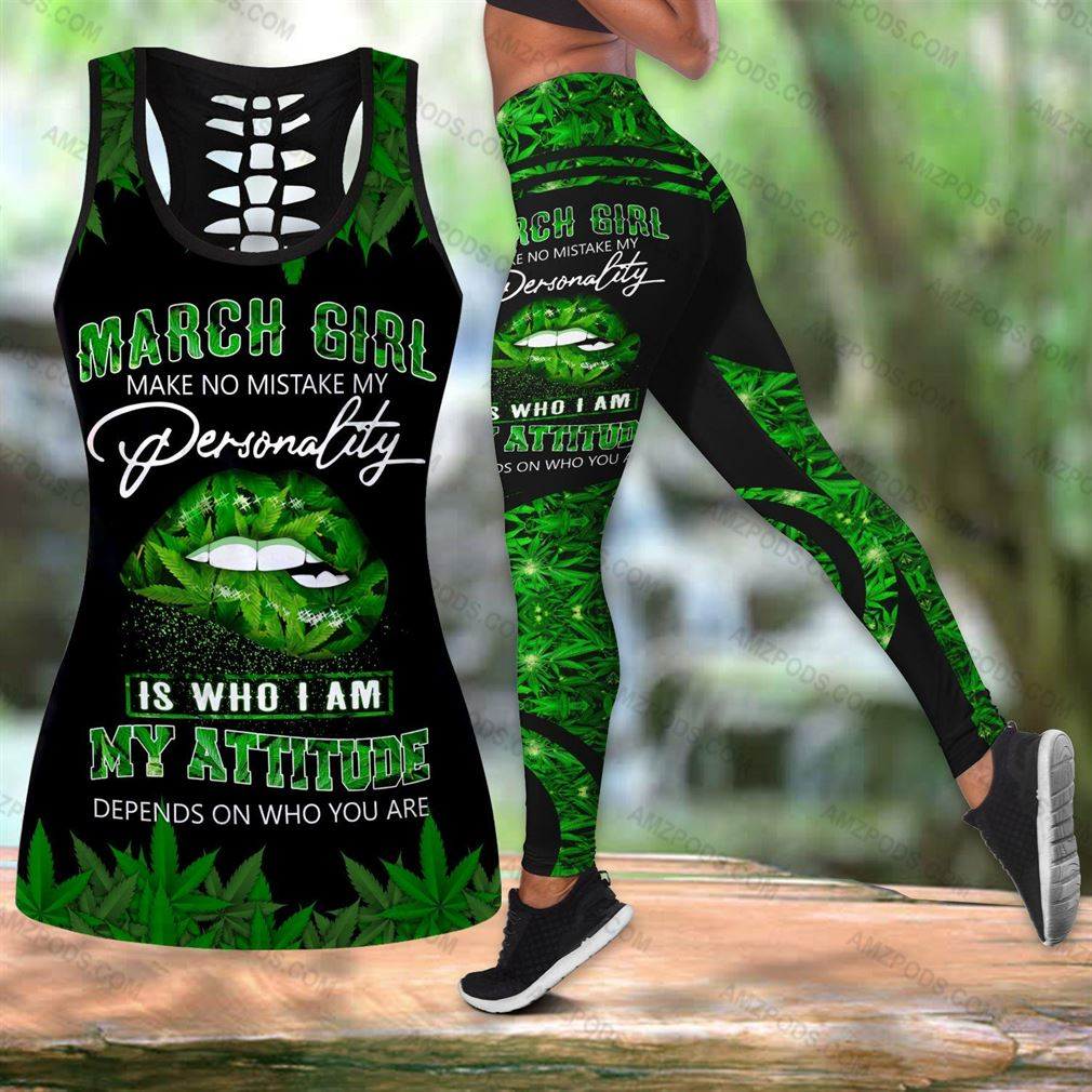 March Birthday Girl Combo Outfit Hollow Tanktop Legging Set V27