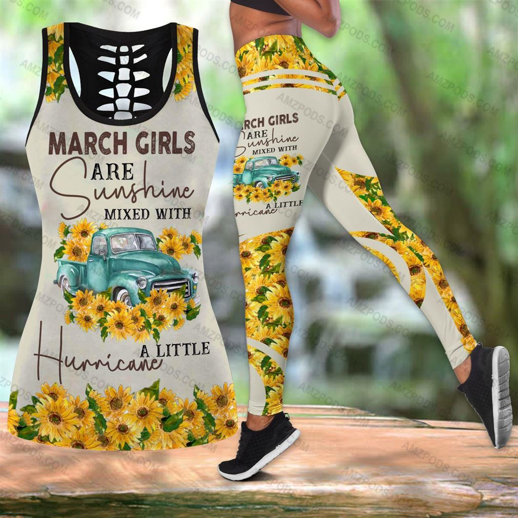 March Birthday Girl Combo Outfit Hollow Tanktop Legging Set V30