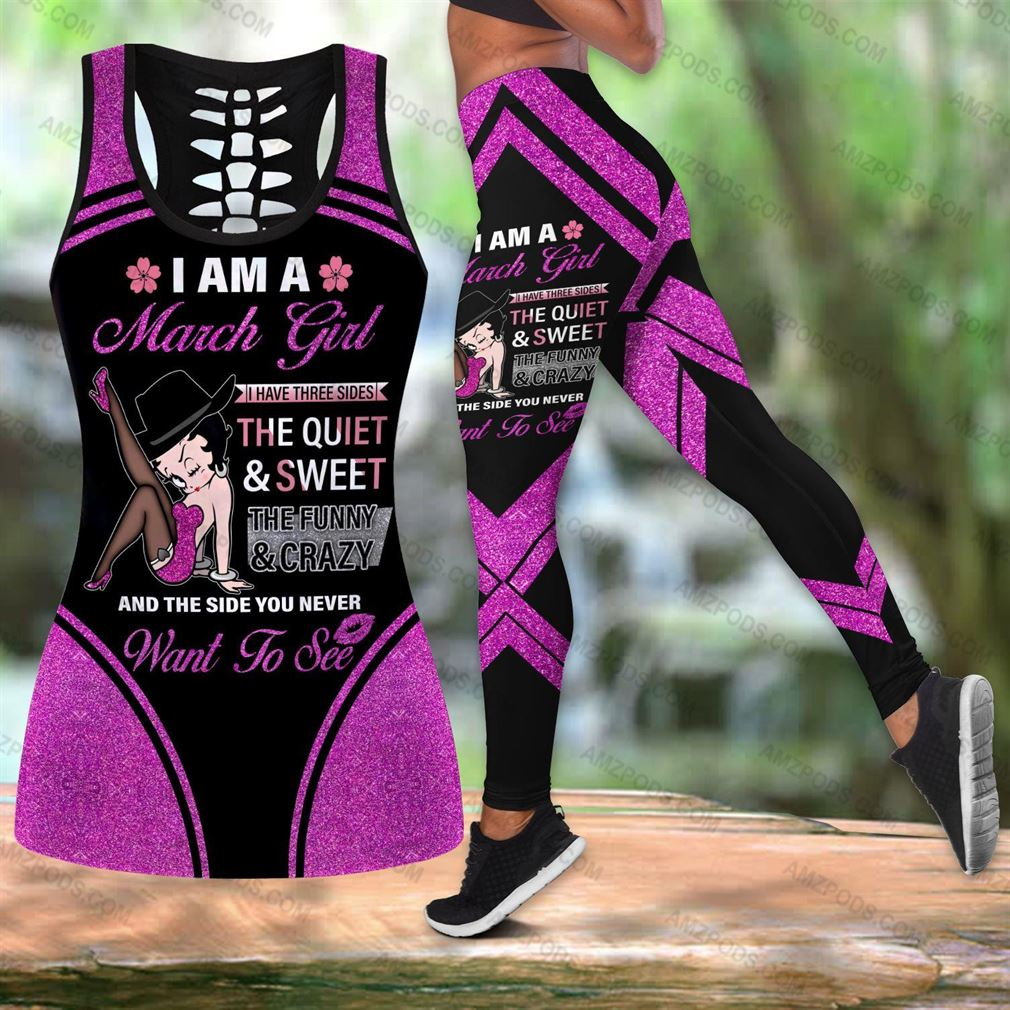March Birthday Girl Combo Outfit Hollow Tanktop Legging Set V33