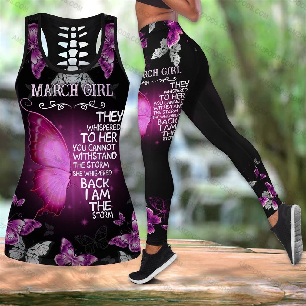 March Birthday Girl Combo Outfit Hollow Tanktop Legging Set V36