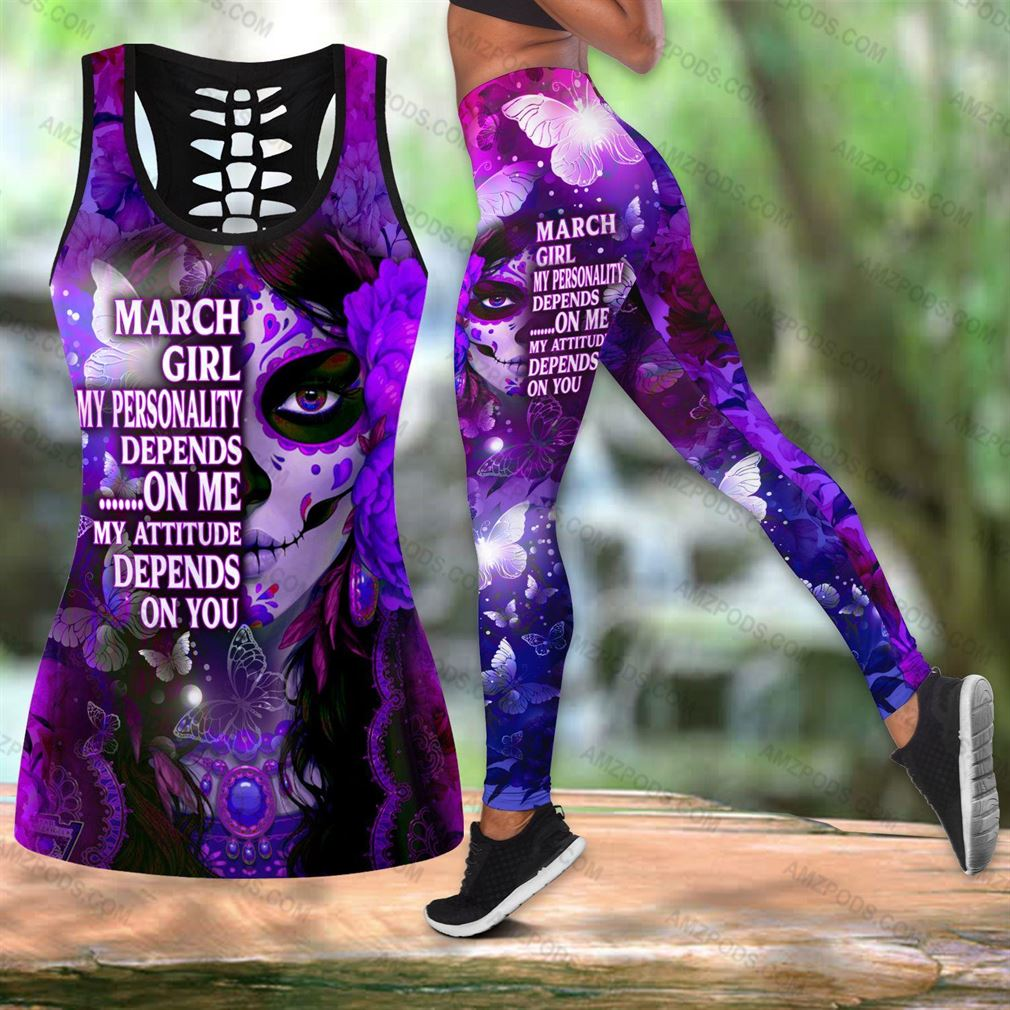 March Birthday Girl Combo Outfit Hollow Tanktop Legging Set V39