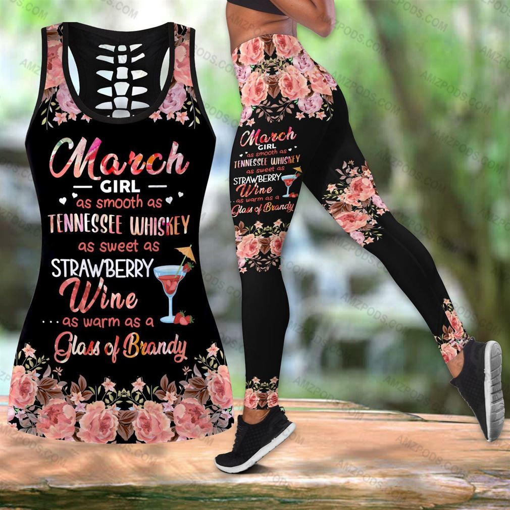 March Birthday Girl Combo Outfit Hollow Tanktop Legging Set V40