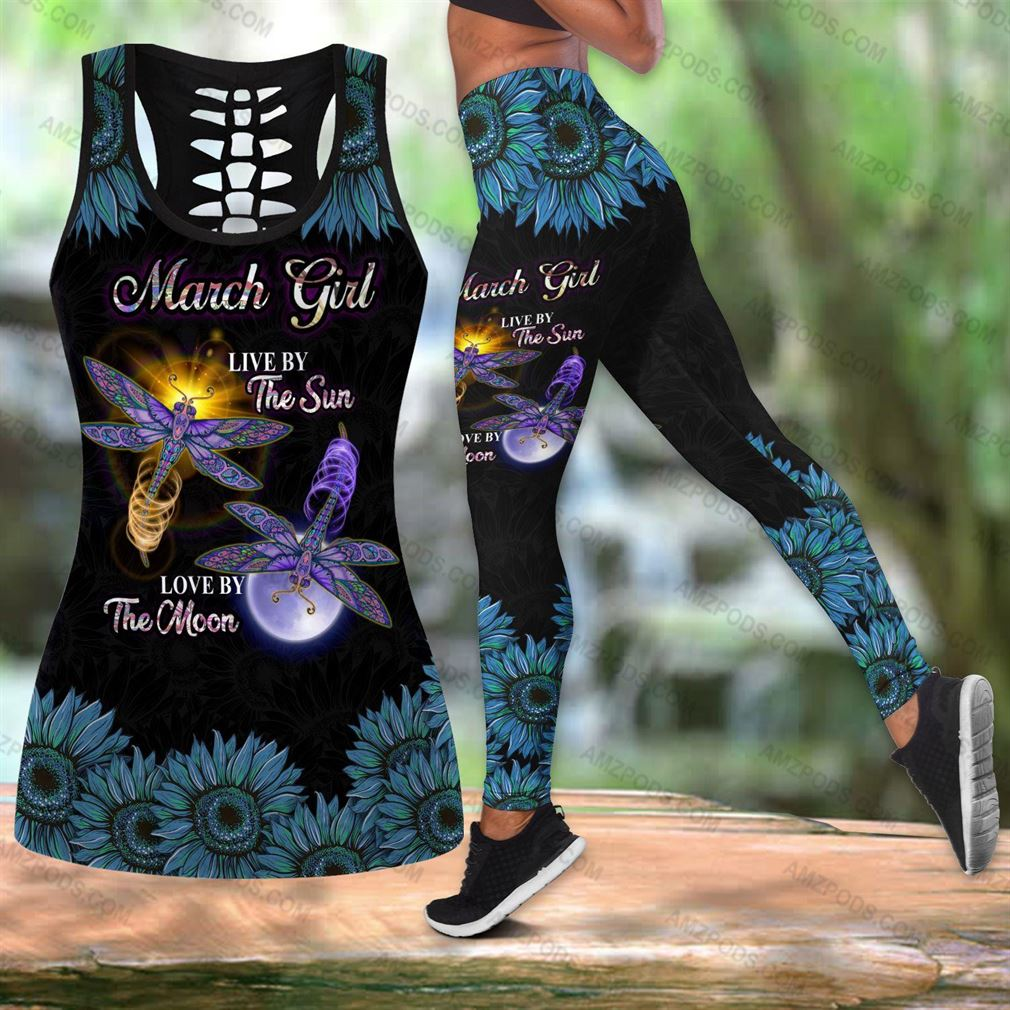 March Birthday Girl Combo Outfit Hollow Tanktop Legging Set V41