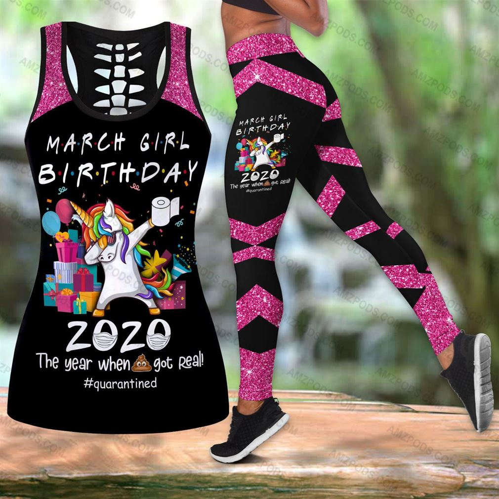 March Birthday Girl Combo Outfit Hollow Tanktop Legging Set V46