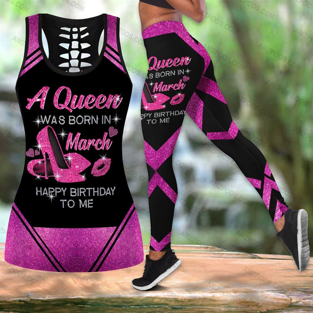 March Birthday Girl Combo Outfit Hollow Tanktop Legging Set V57