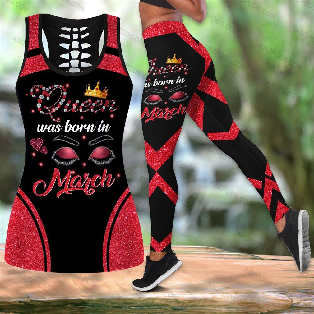 March Birthday Girl Combo Outfit Hollow Tanktop Legging Set V58