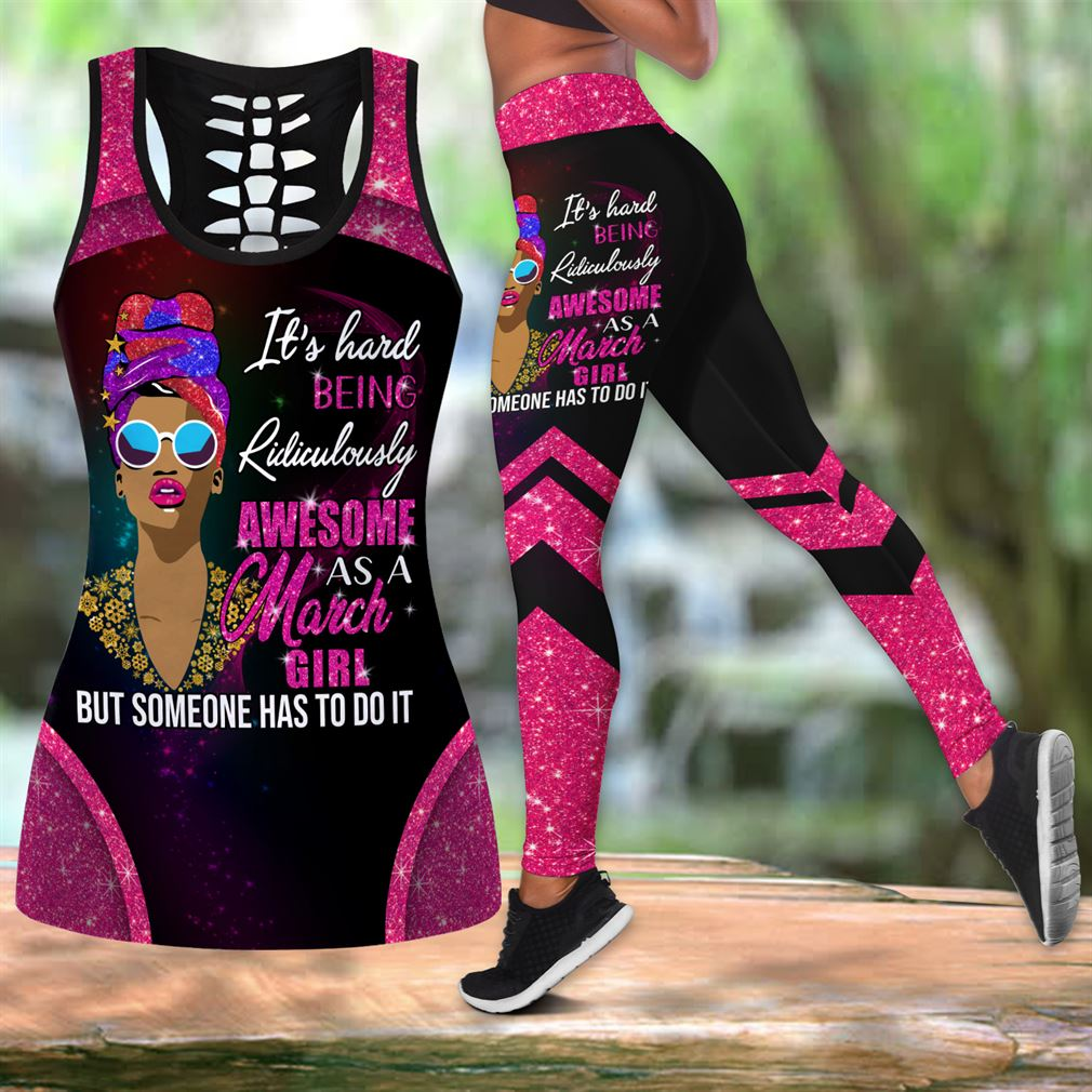 March Birthday Girl Combo Outfit Hollow Tanktop Legging Set V61