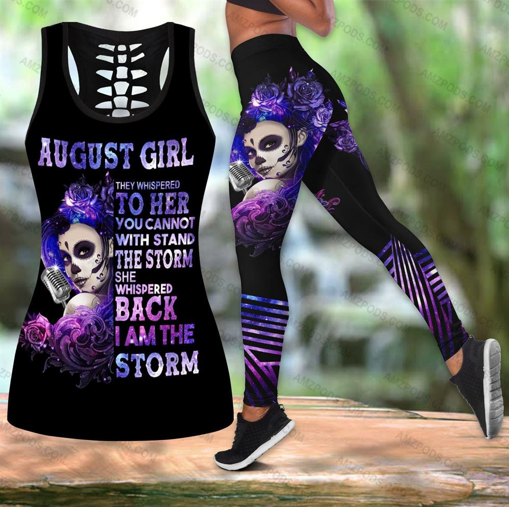 August Birthday Girl Combo August Outfit Hollow Tanktop Legging Personalized Set V012