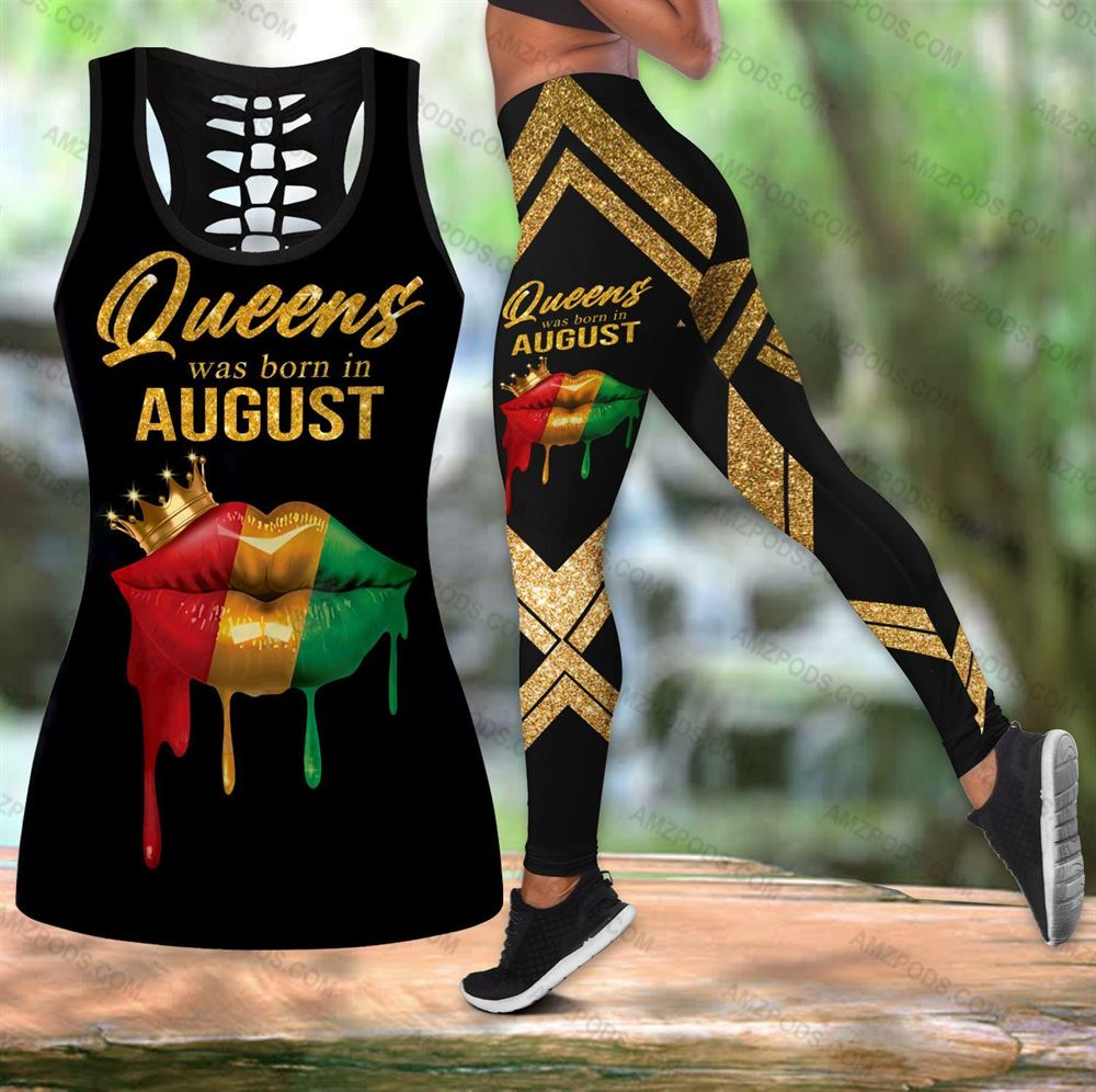 August Birthday Girl Combo August Outfit Hollow Tanktop Legging Personalized Set V039