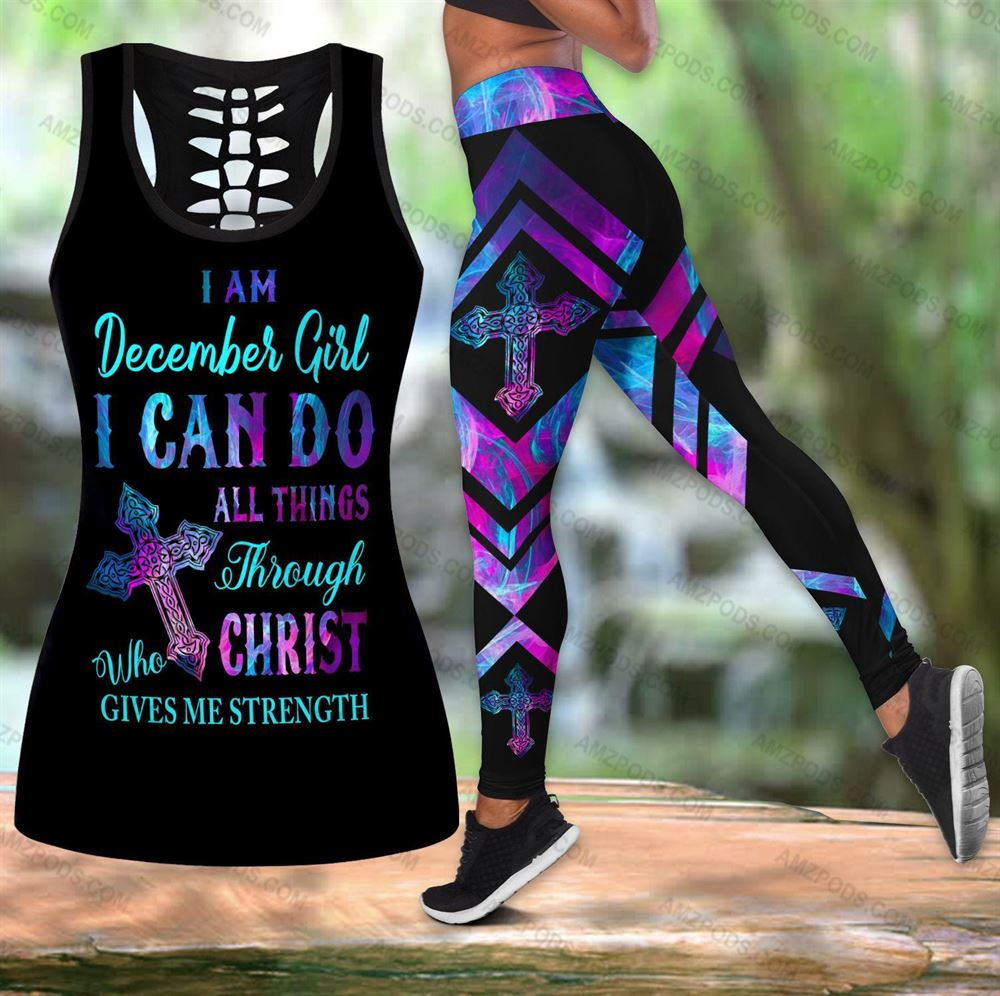 December Birthday Girl Combo December Outfit Hollow Tanktop Legging Personalized Set V02
