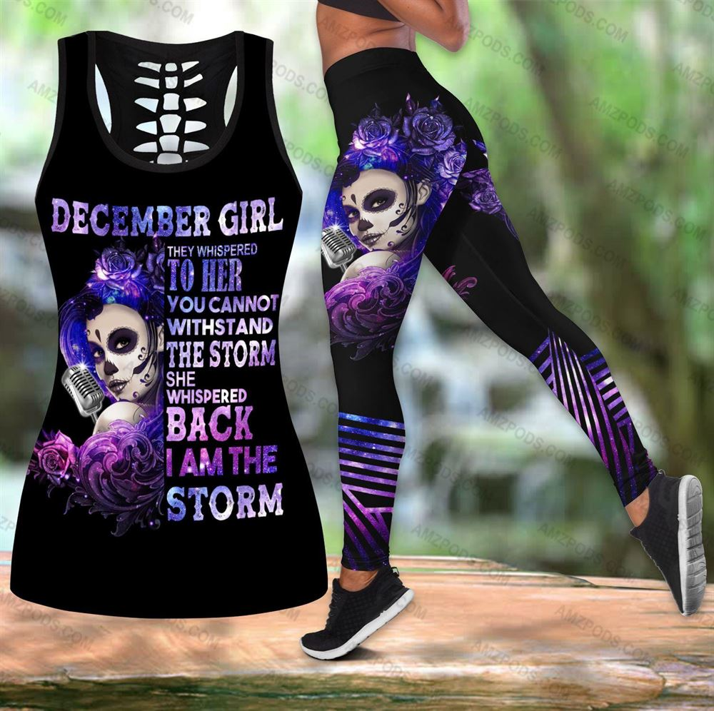 December Birthday Girl Combo December Outfit Hollow Tanktop Legging Personalized Set V04