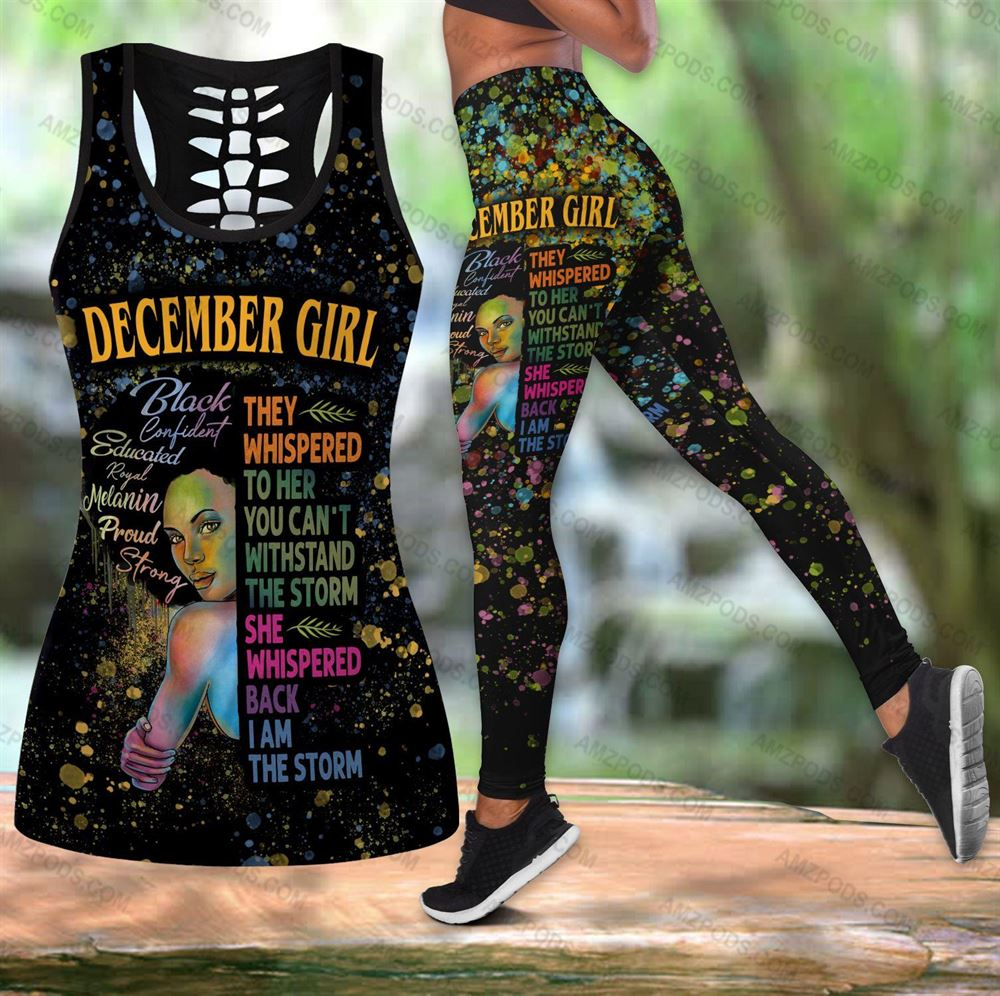 December Birthday Girl Combo December Outfit Hollow Tanktop Legging Personalized Set V044