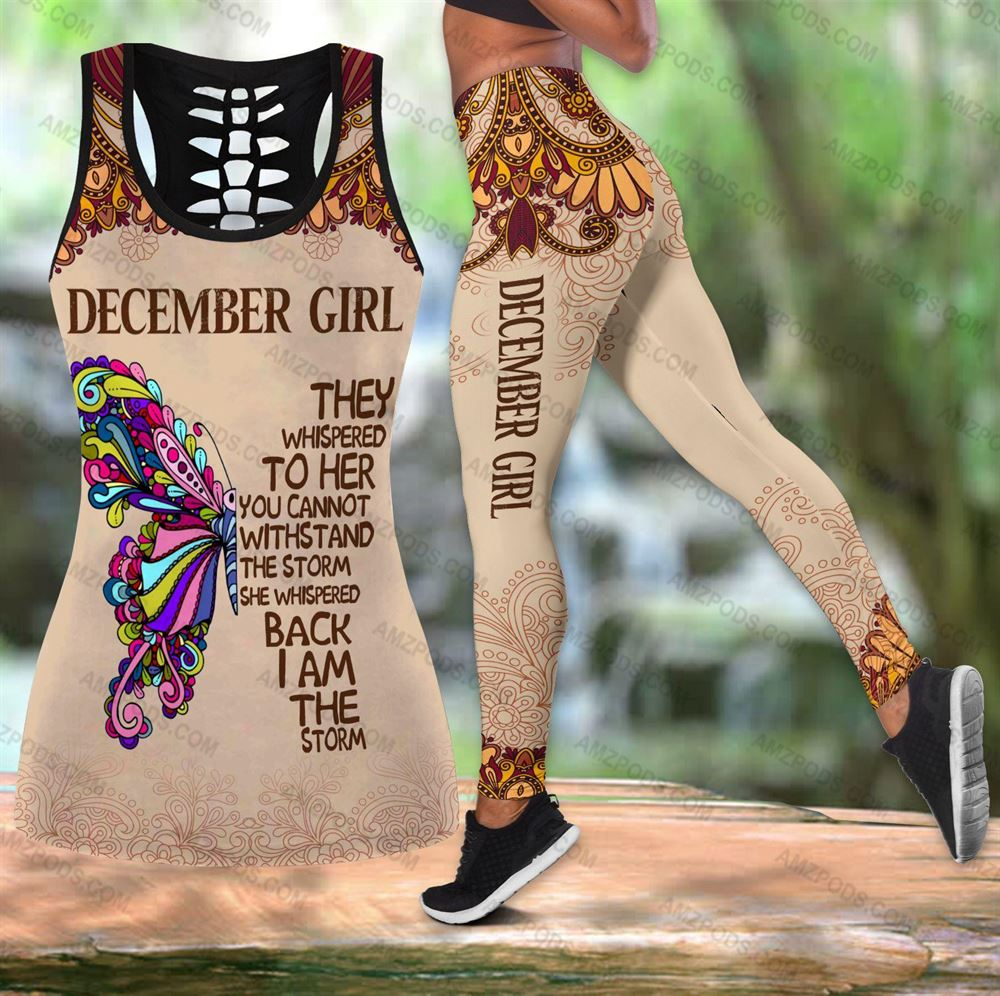 December Birthday Girl Combo December Outfit Hollow Tanktop Legging Personalized Set V050