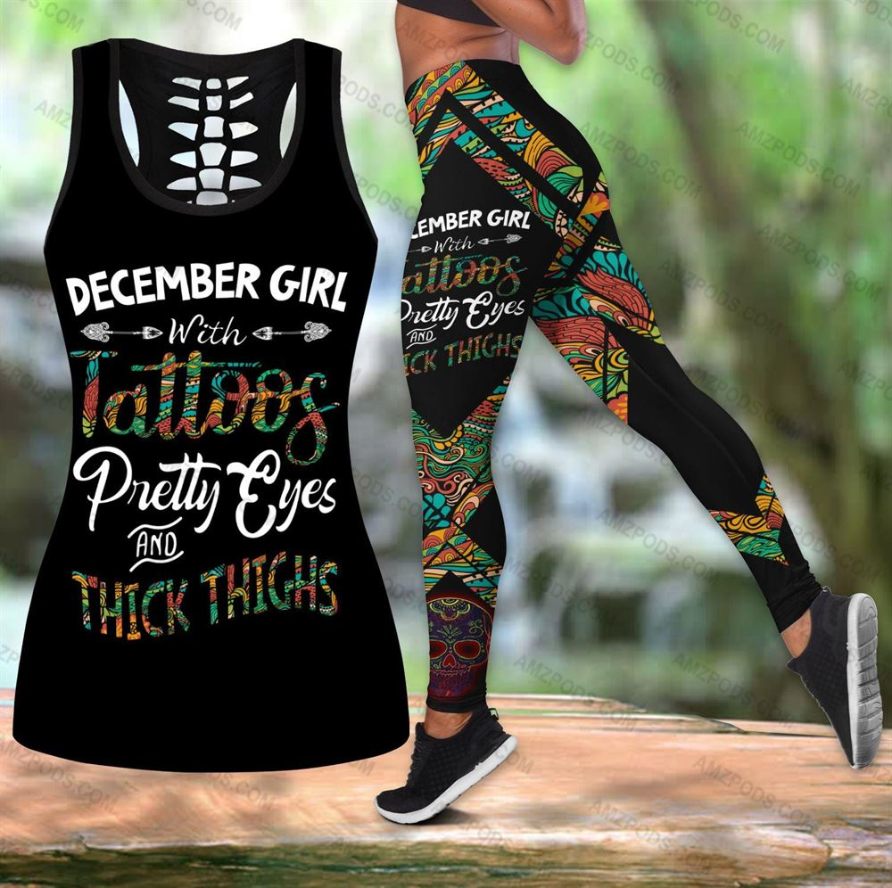 December Birthday Girl Combo December Outfit Hollow Tanktop Legging Personalized Set V07