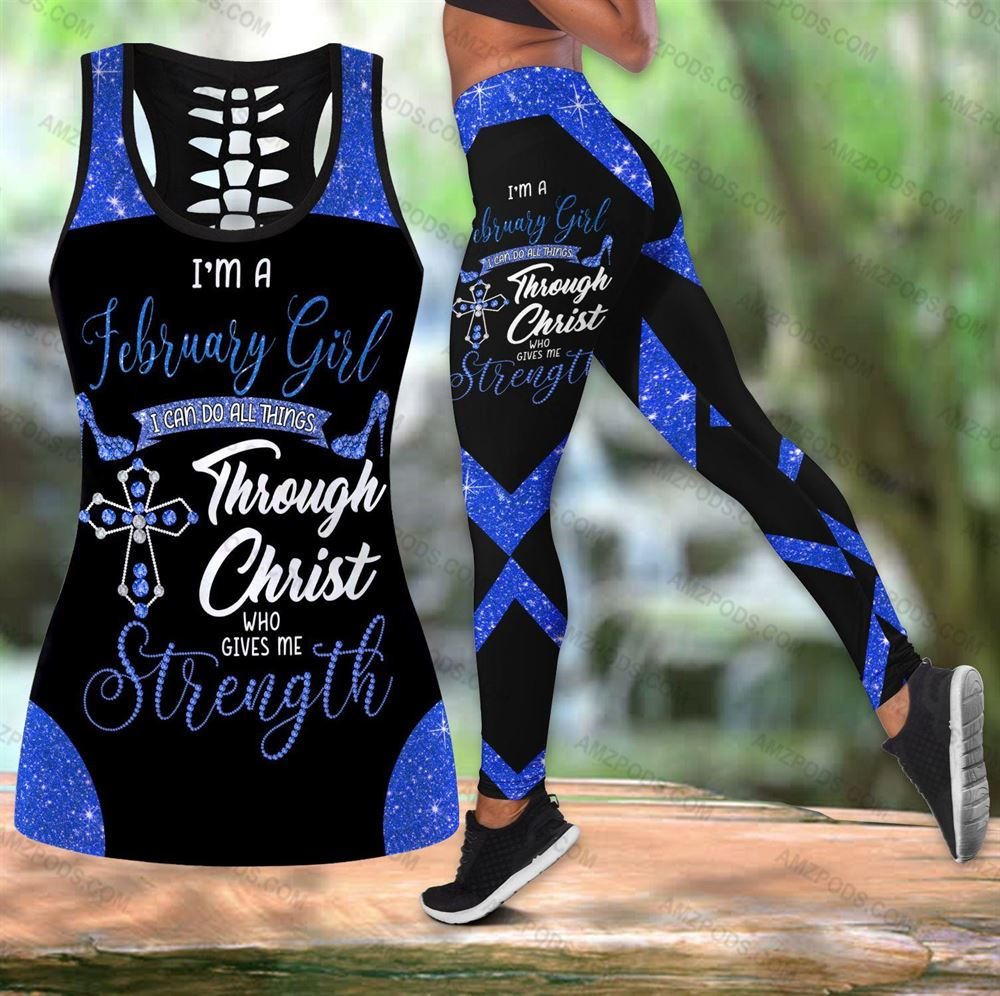 February Birthday Girl Combo February Outfit Hollow Tanktop Legging Personalized Set V047