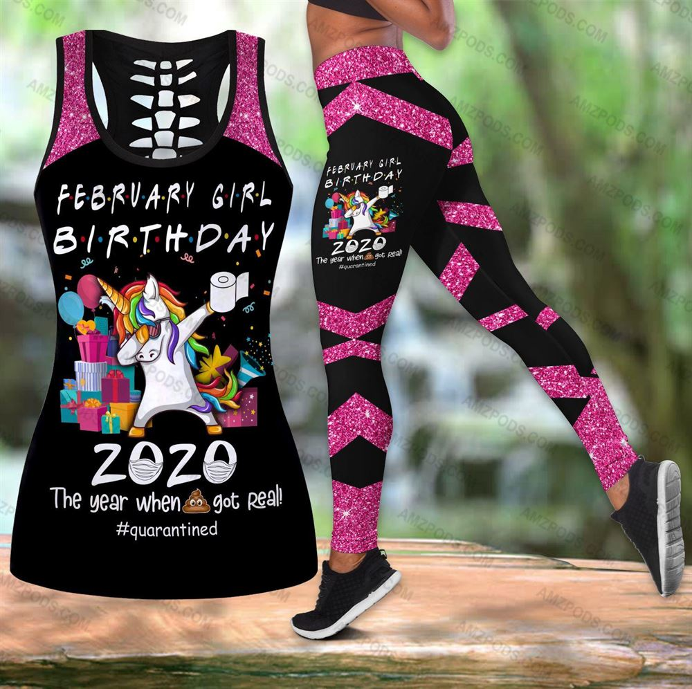 February Birthday Girl Combo February Outfit Hollow Tanktop Legging Personalized Set V048