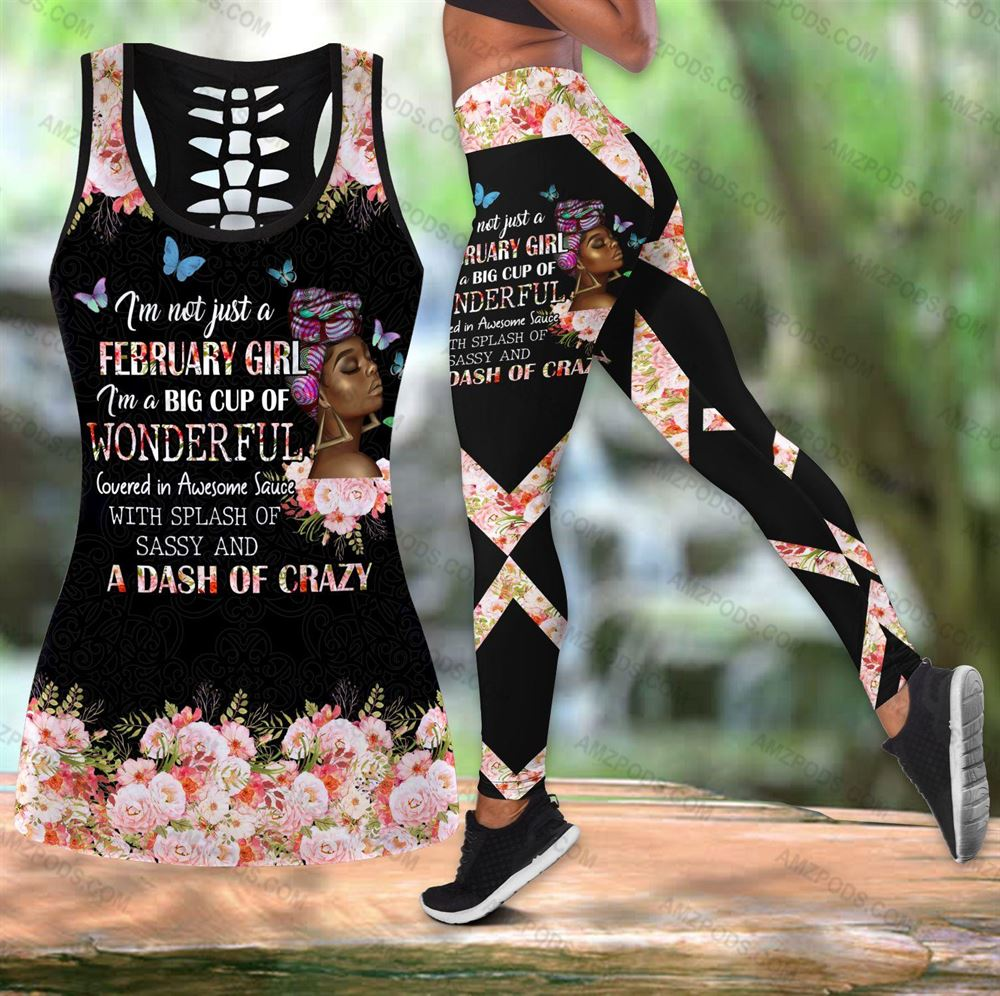 February Birthday Girl Combo February Outfit Hollow Tanktop Legging Personalized Set V052