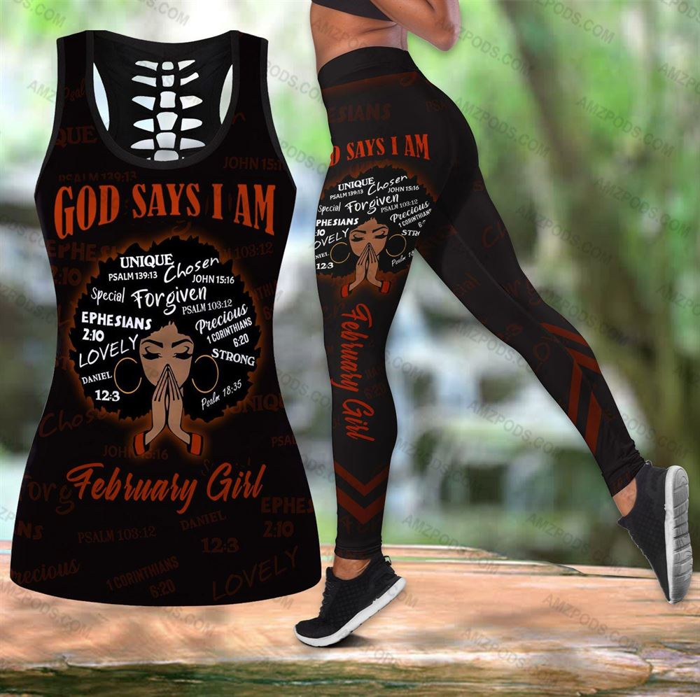 February Birthday Girl Combo February Outfit Hollow Tanktop Legging Personalized Set V055