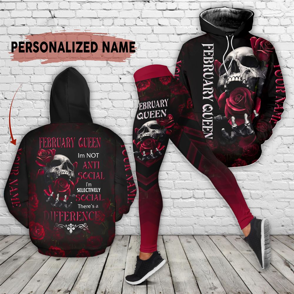February Birthday Girl Combo February Outfit Personalized Hoodie Legging Set V02