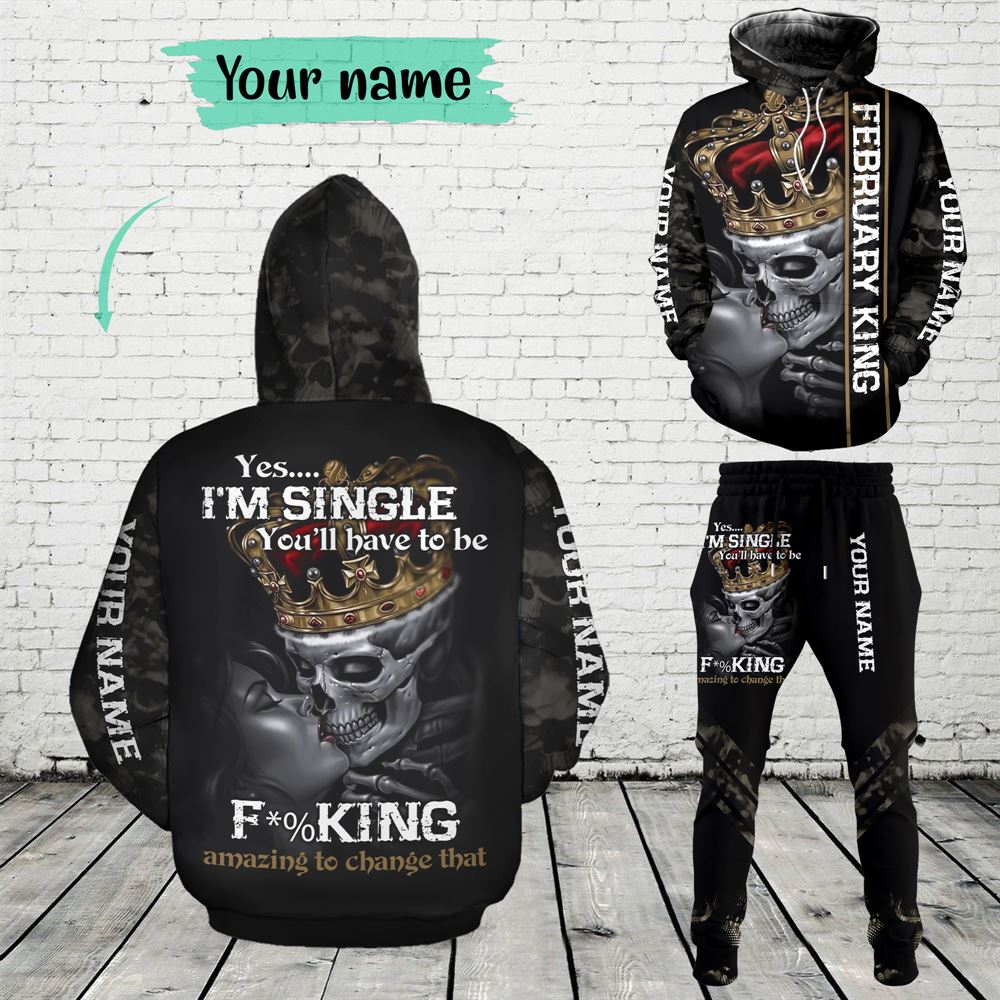 February Birthday Guy Combo February 3d Clothes Personalized Hoodie Joggers Set V022