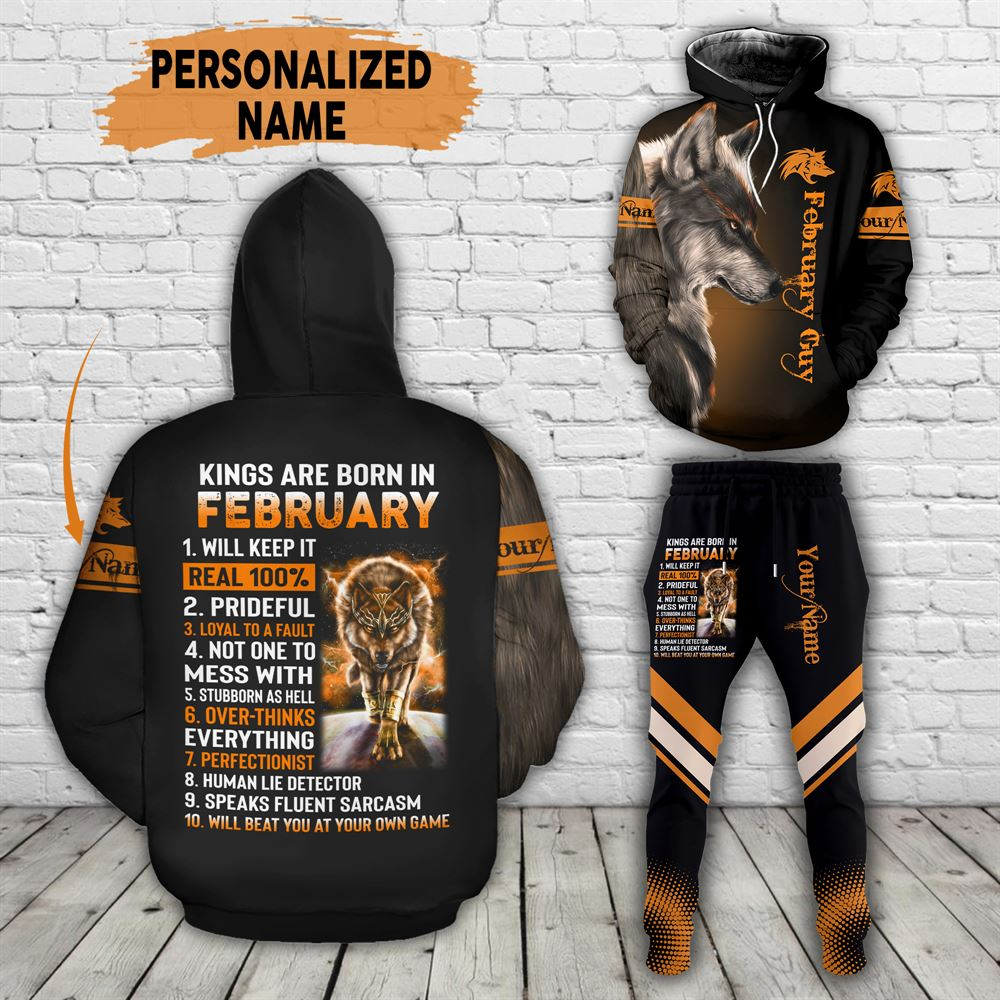 February Birthday Guy Combo February 3d Clothes Personalized Hoodie Joggers Set V027