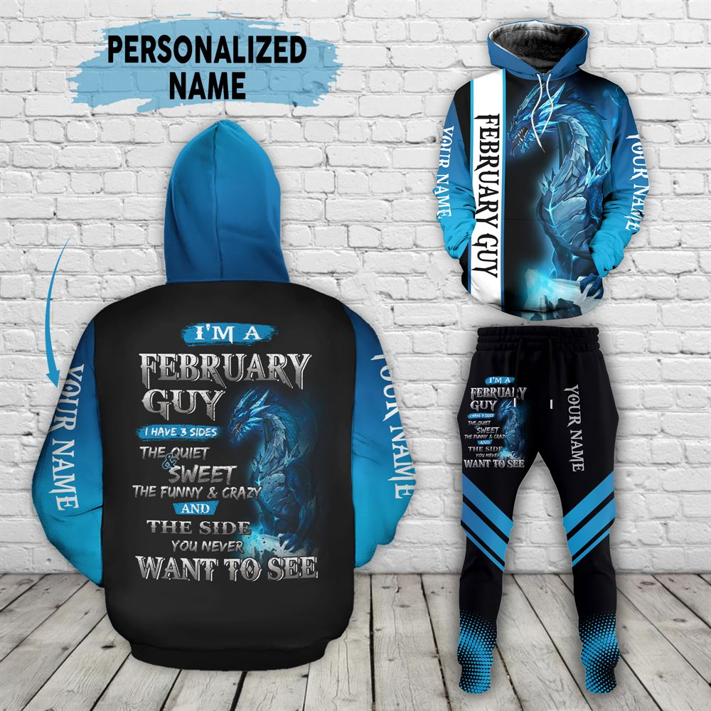 February Birthday Guy Combo February 3d Clothes Personalized Hoodie Joggers Set V028