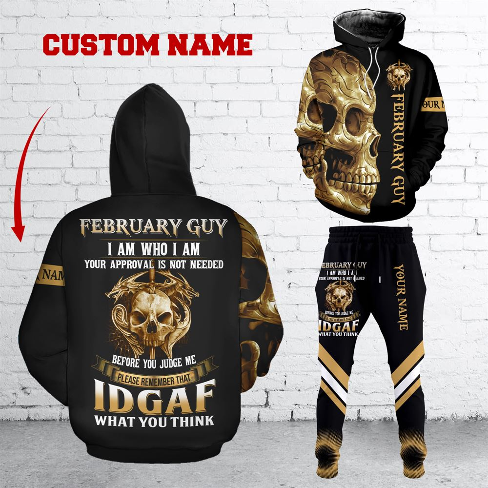 February Birthday Guy Combo February 3d Clothes Personalized Hoodie Joggers Set V034