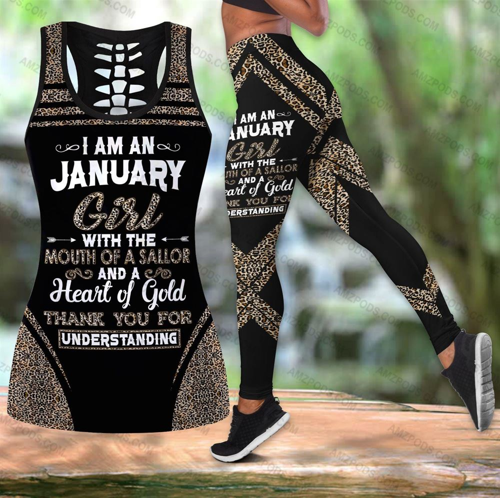 January Birthday Girl Combo January Outfit Hollow Tanktop Legging Personalized Set V016