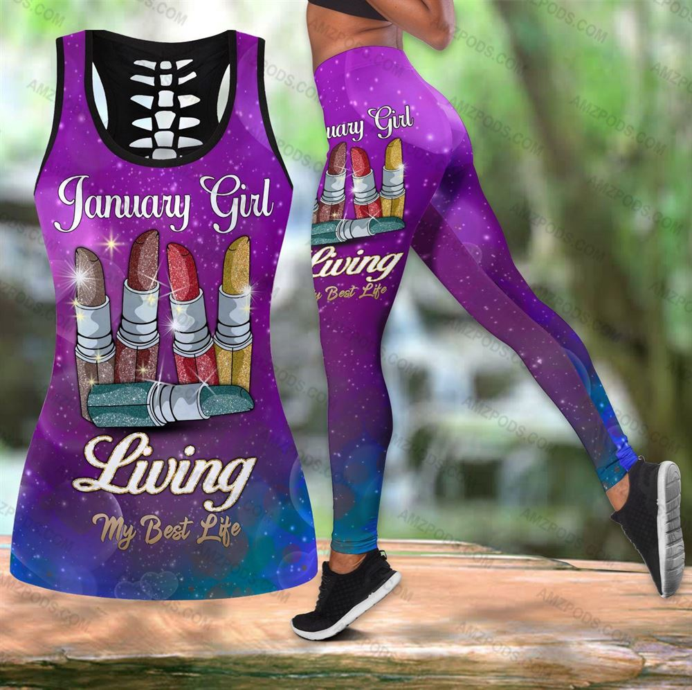 January Birthday Girl Combo January Outfit Hollow Tanktop Legging Personalized Set V026