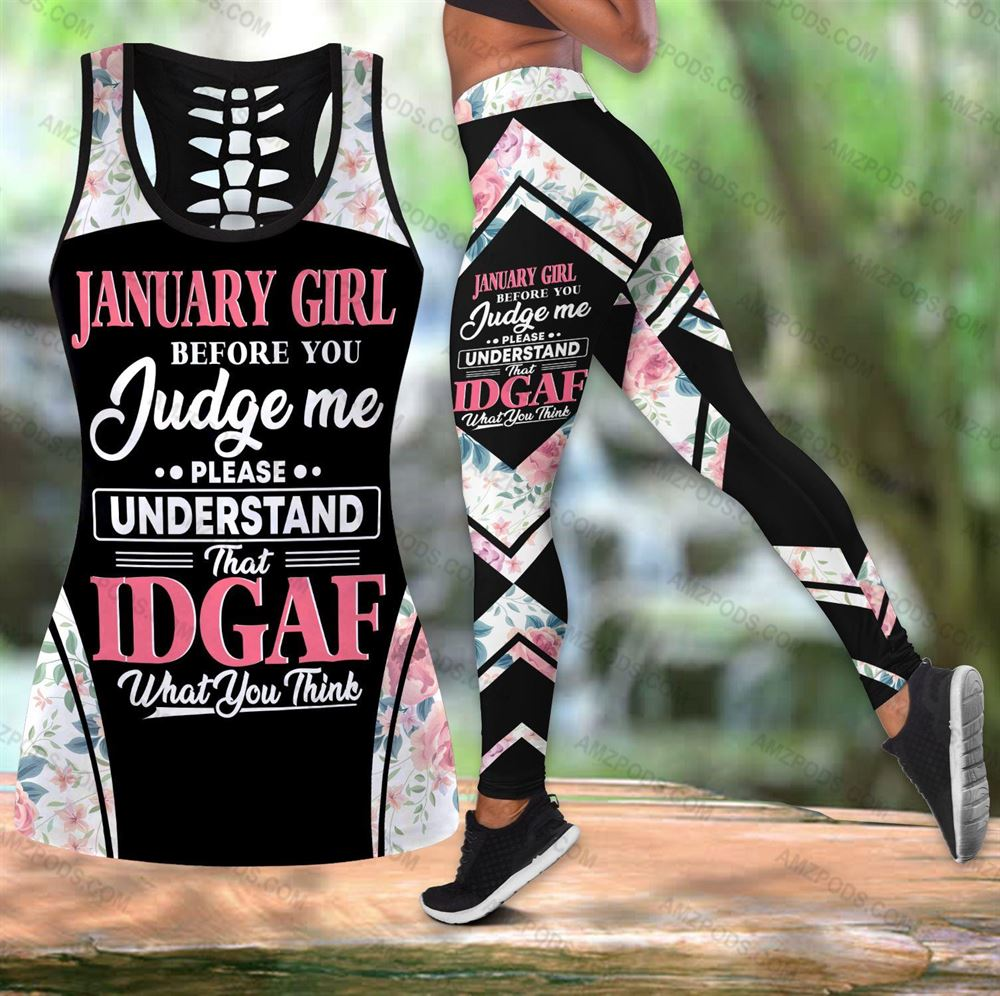 January Birthday Girl Combo January Outfit Hollow Tanktop Legging Personalized Set V08