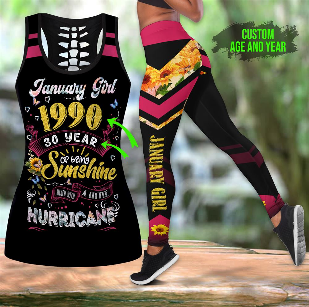 January Birthday Girl Combo January Outfit Hollow Tanktop Legging Personalized Set V09