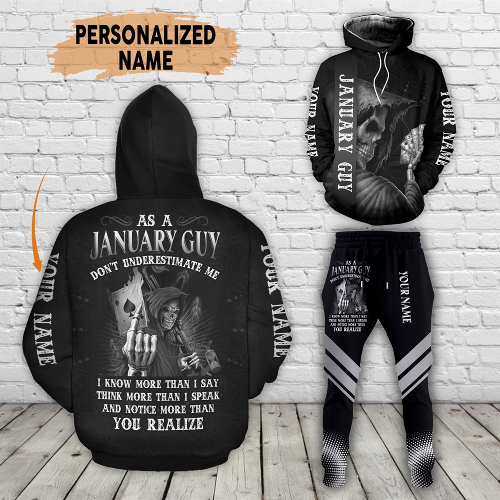 January Birthday Guy Combo January 3d Clothes Personalized Hoodie Joggers Set V012