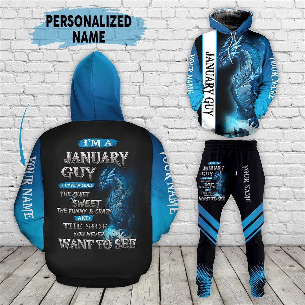January Birthday Guy Combo January 3d Clothes Personalized Hoodie Joggers Set V023