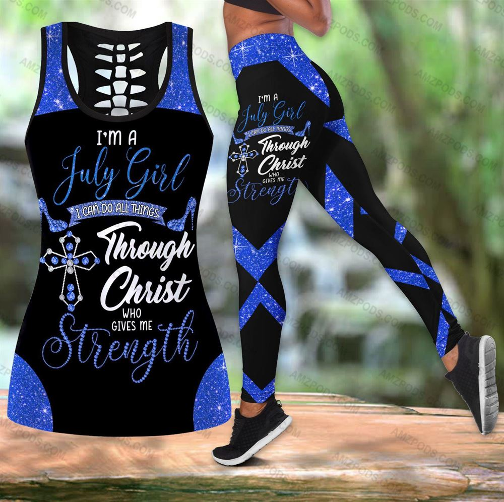 July Birthday Girl Combo July Outfit Hollow Tanktop Legging Personalized Set V046