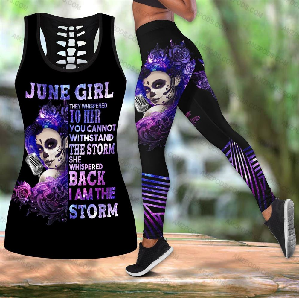 June Birthday Girl Combo June Outfit Hollow Tanktop Legging Personalized Set V01