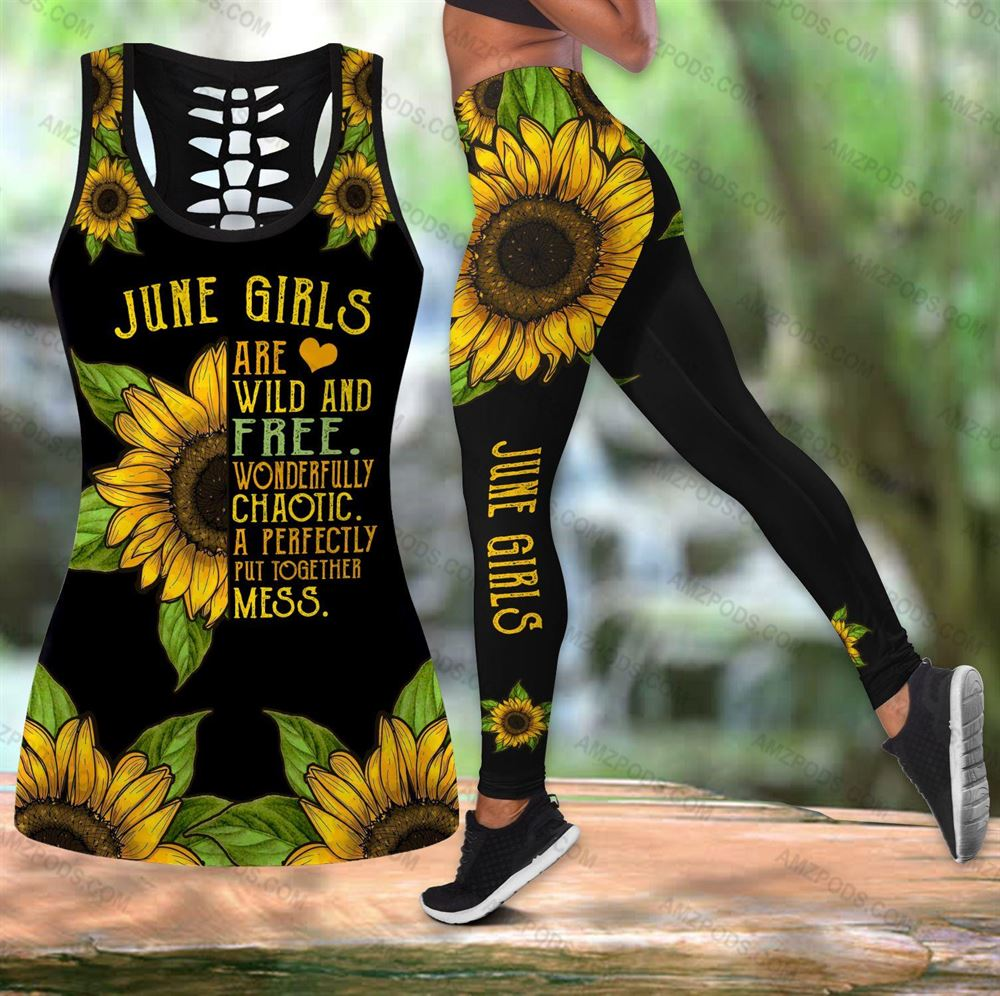June Birthday Girl Combo June Outfit Hollow Tanktop Legging Personalized Set V012