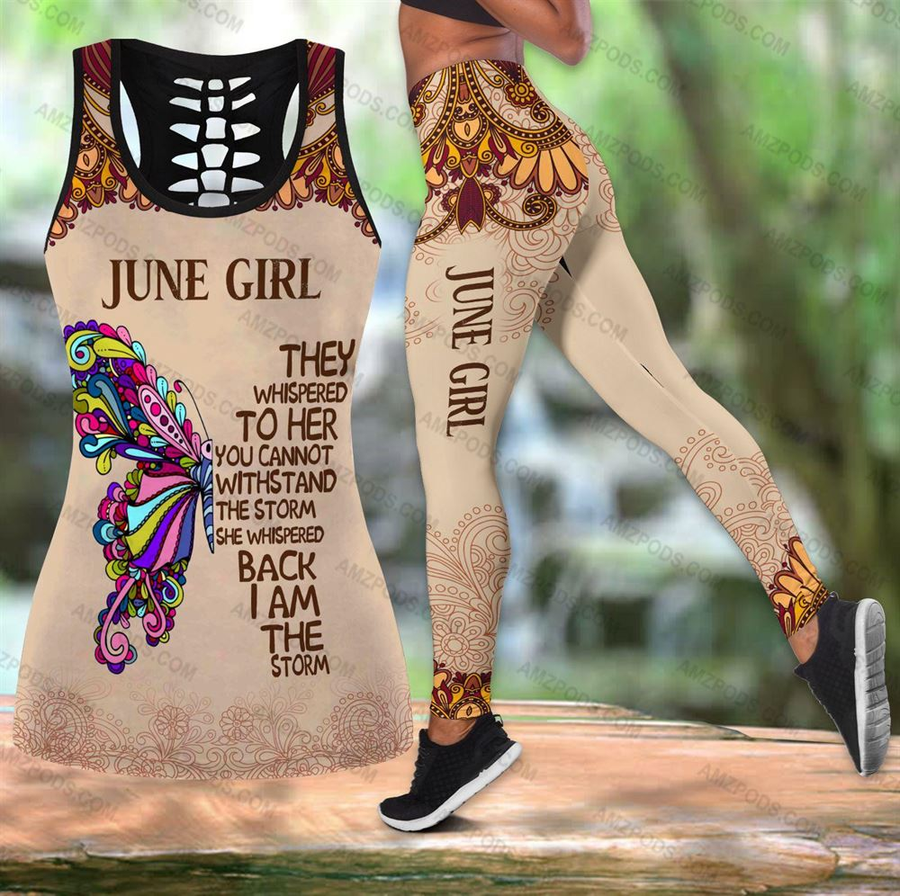 June Birthday Girl Combo June Outfit Hollow Tanktop Legging Personalized Set V029