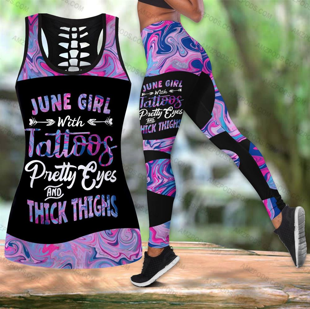 June Birthday Girl Combo June Outfit Hollow Tanktop Legging Personalized Set V032