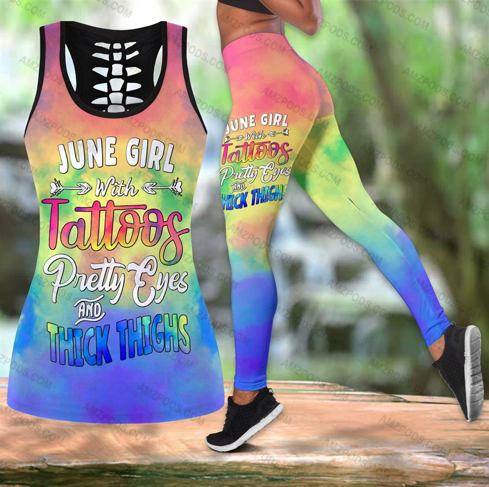 June Birthday Girl Combo June Outfit Hollow Tanktop Legging Personalized Set V035