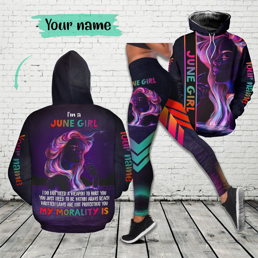 June Birthday Girl Combo June Outfit Personalized Hoodie Legging Set V01